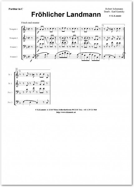 SCHUMANN, Robert - Fröhlicher Landmann (2 Trompeten 2 Posaunen)